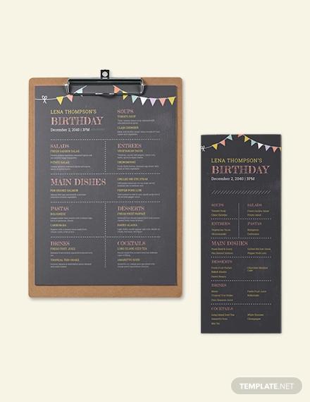 chalk board birthday menu template