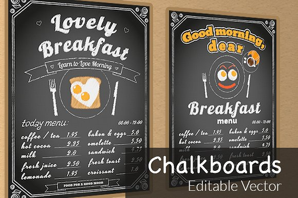 chalkboard breakfast menu example