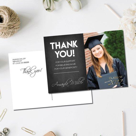chalkboard graduation thank you postcard example