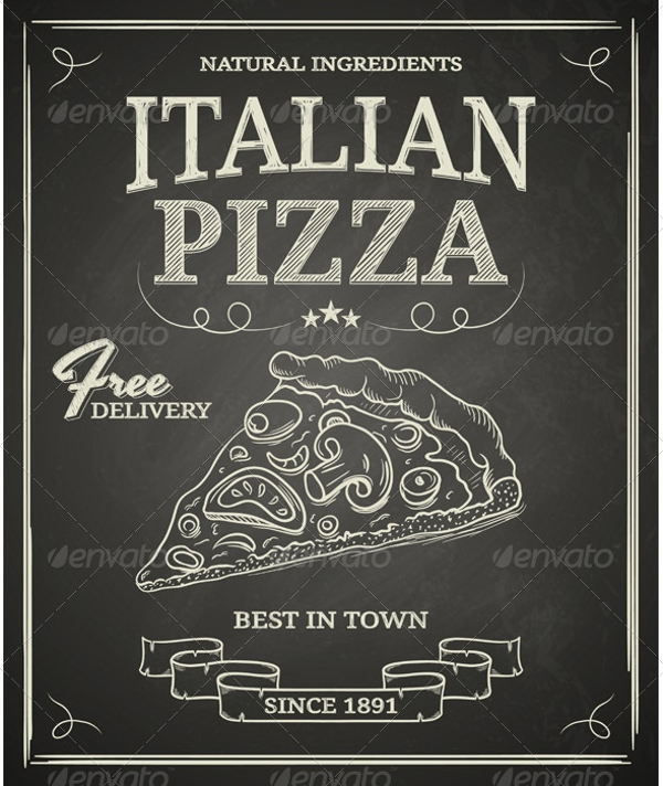chalkboard italian pizza poster design