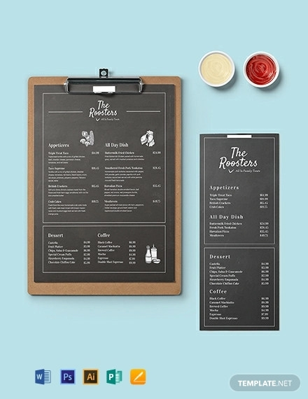 chalkboard menu card template