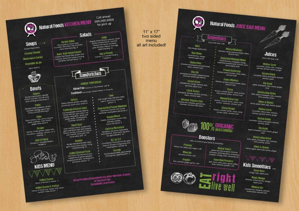 chalkboard restuarant indesign menu example 1024x723