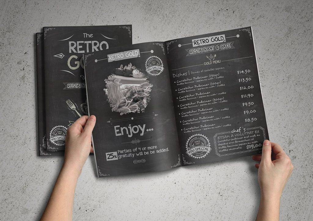 chalkboard retro menu design example