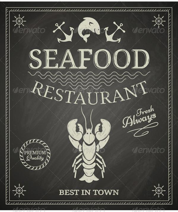 chalkboard seafood poster design
