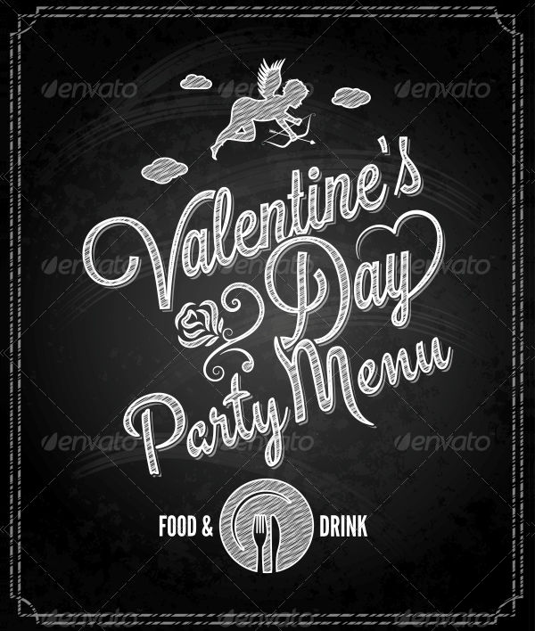 chalkboard valentines party menu example