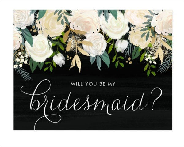 chalkboard will you be my bridesmaid postcard