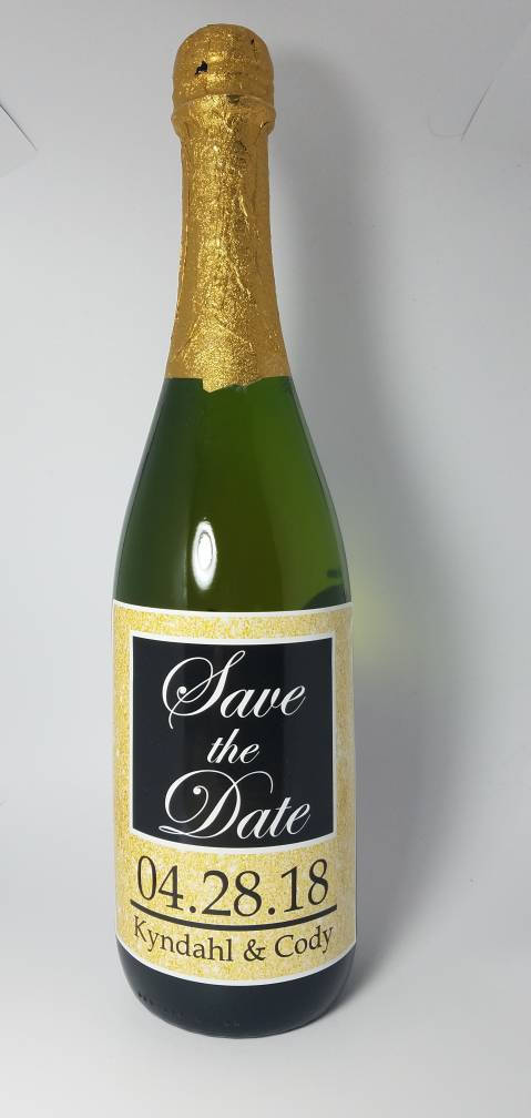 champagne bottle save the date label example