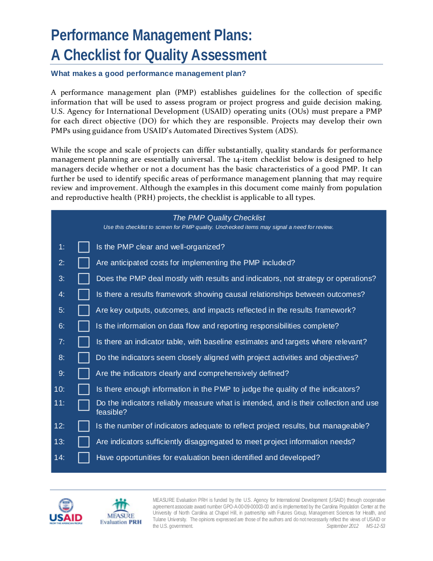 checklist for performance management plan example