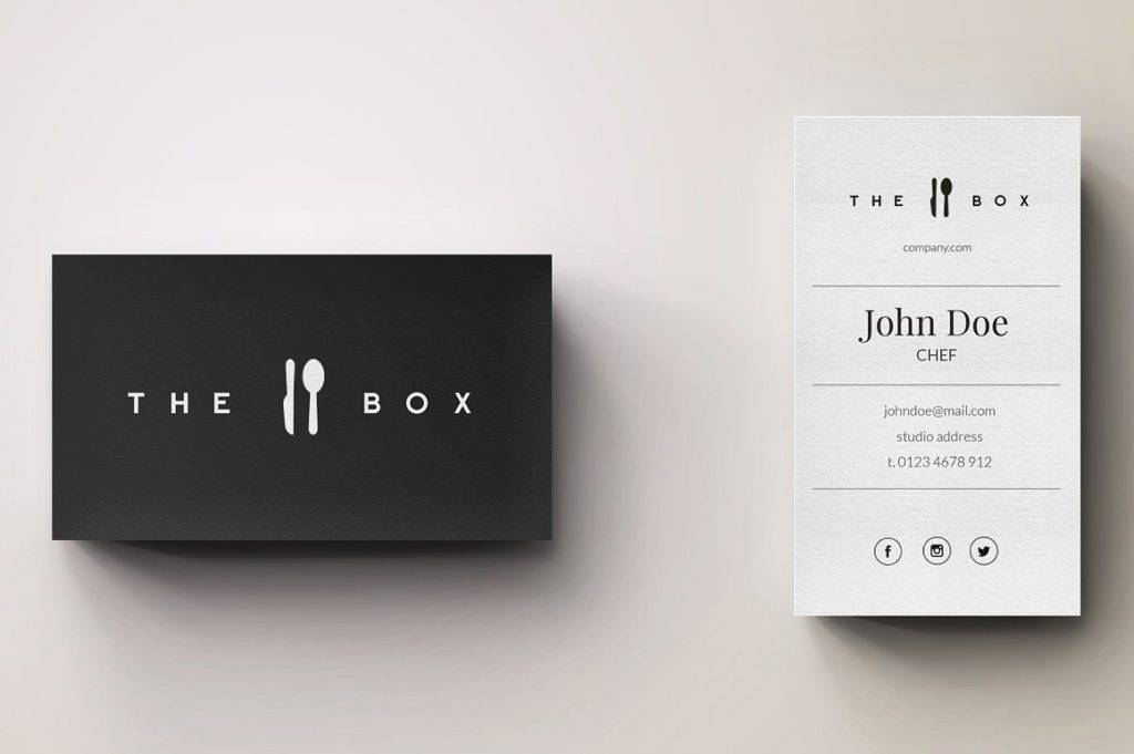 chef minimal logo business card example