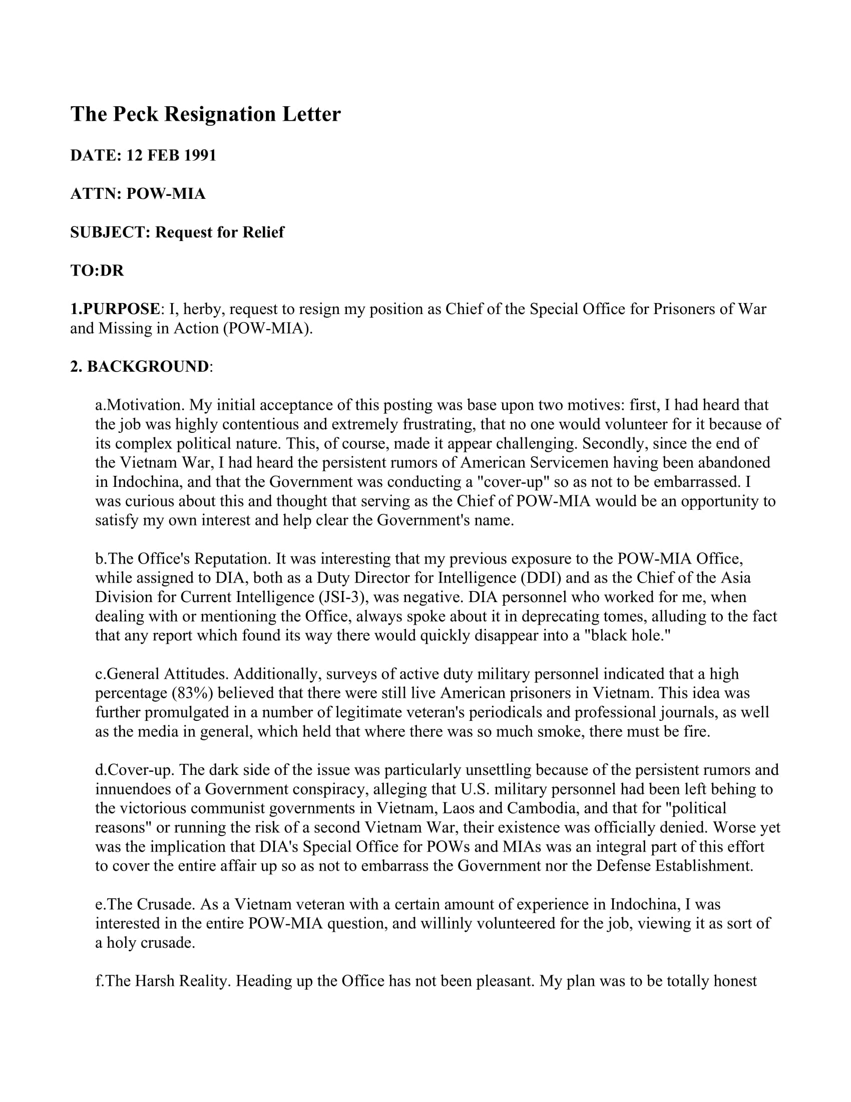 chief army officer resignation letter example
