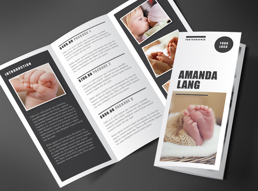 child photography trifold brochure example