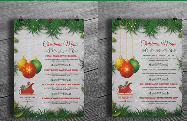 christmas decor party menu example