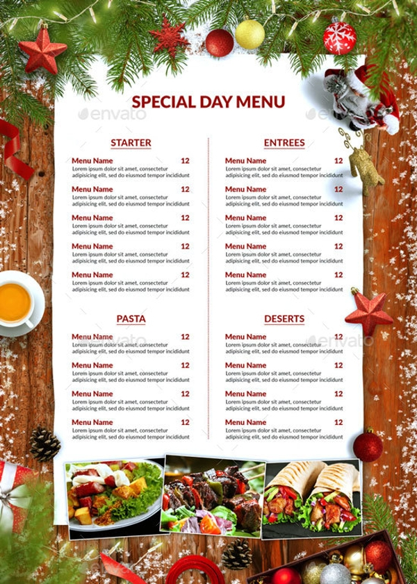 christmas food menu example