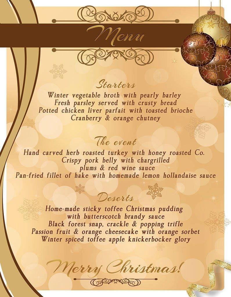 christmas menu template design