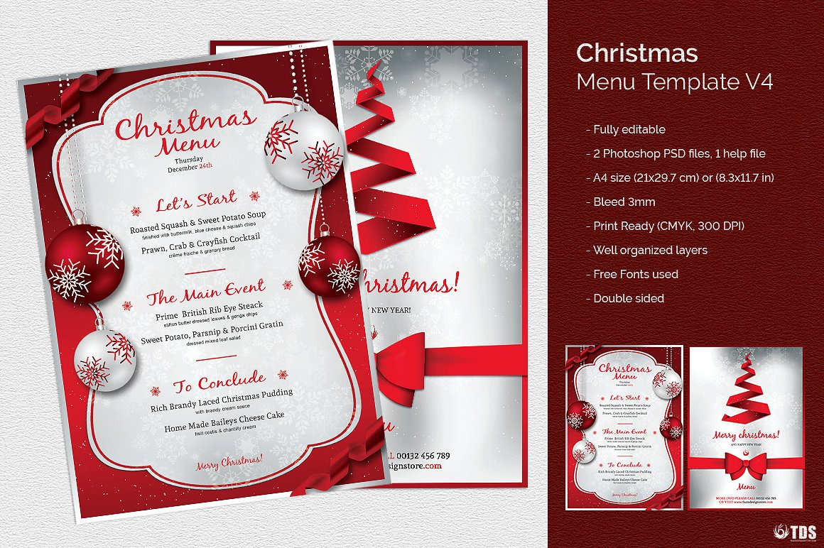 christmas menu white and red example