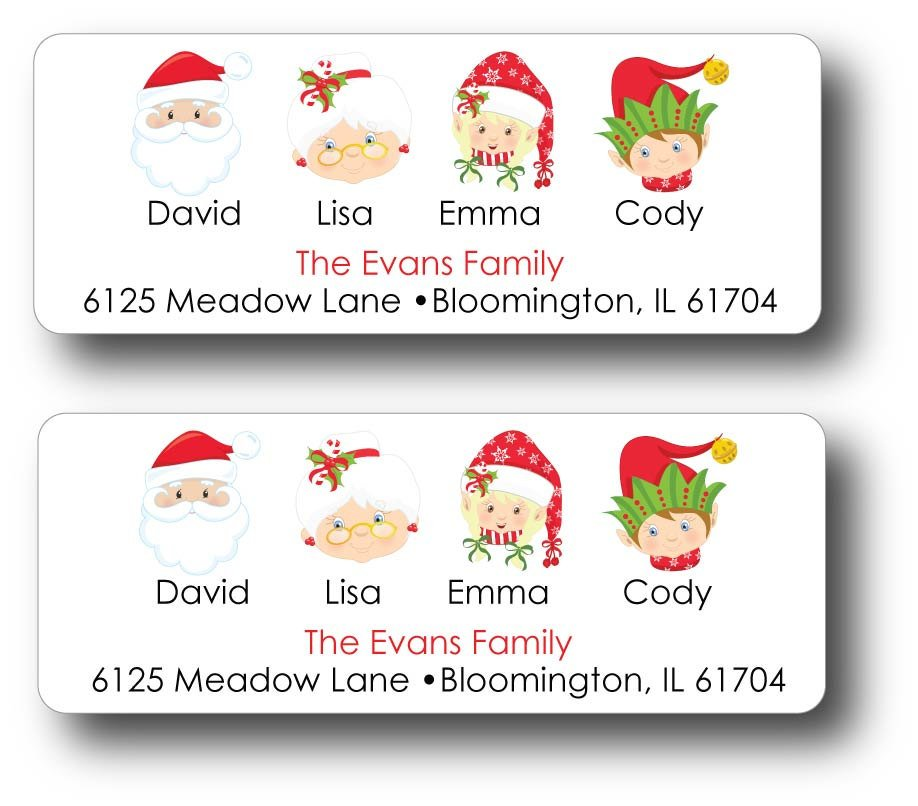 christmas themed address label example