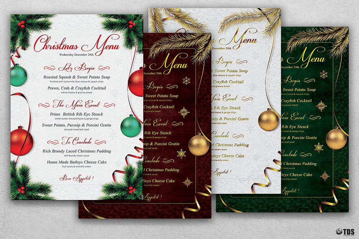 christmas tree balls menu example