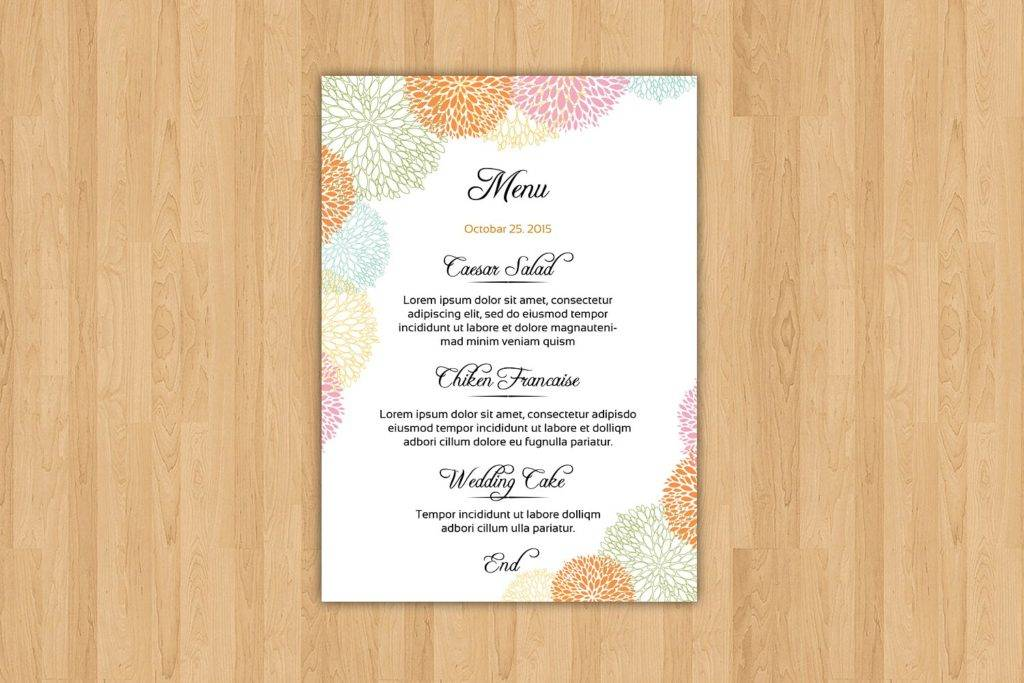 circular designs wedding menu example