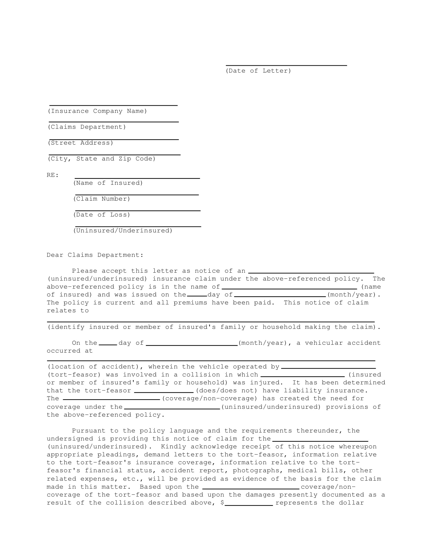claim letter example 1