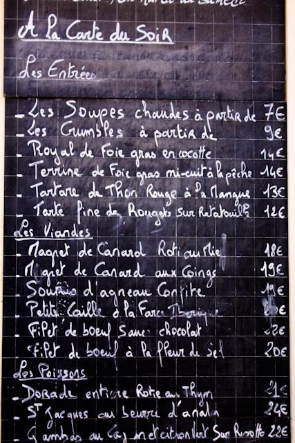 classic french menu on a chalkboard example