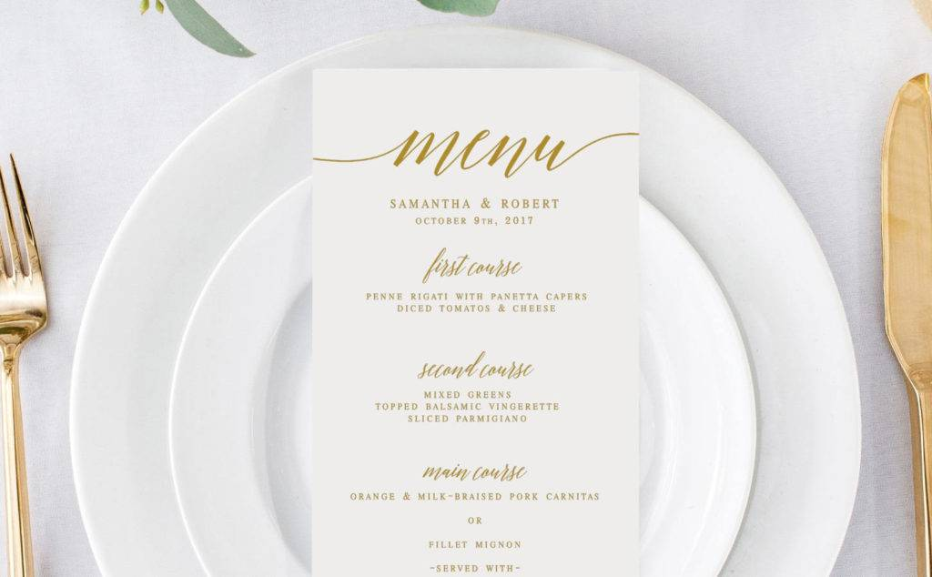 classy gold wedding menu template example