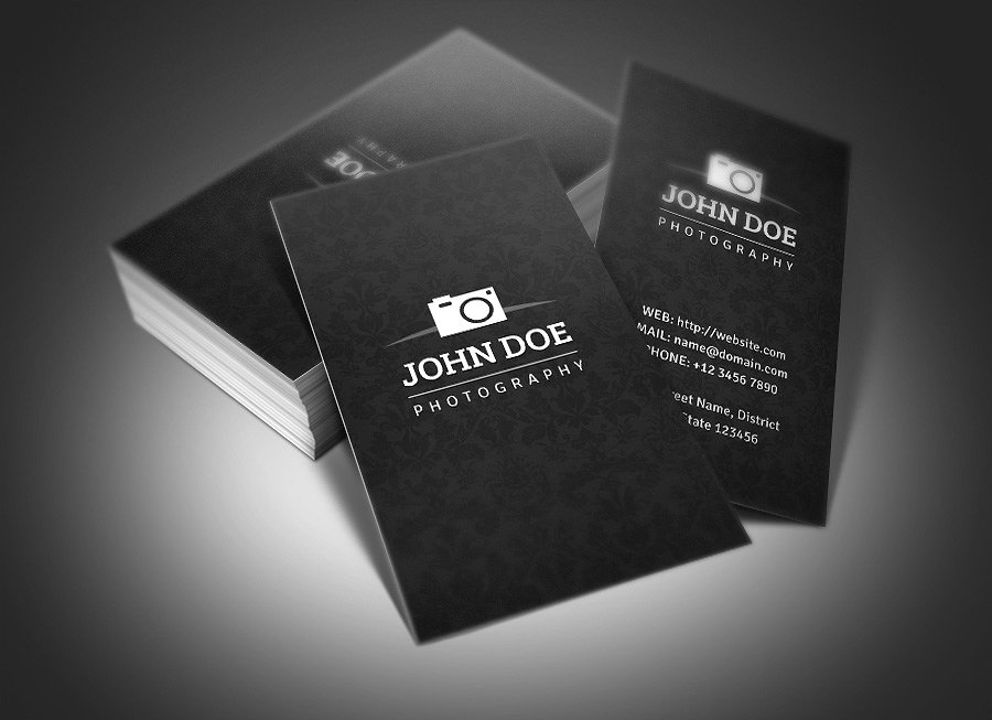 clean black photography business card example
