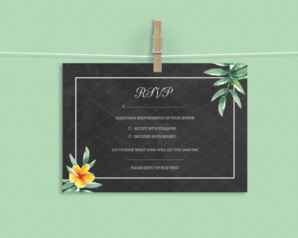 clean chalkboard wedding rsvp card example