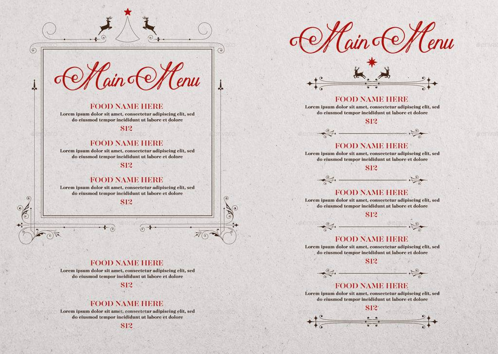 clean christmas party menu example