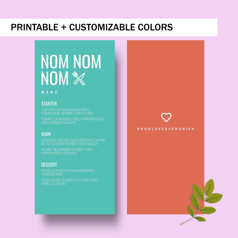 clean colorful wedding menu example