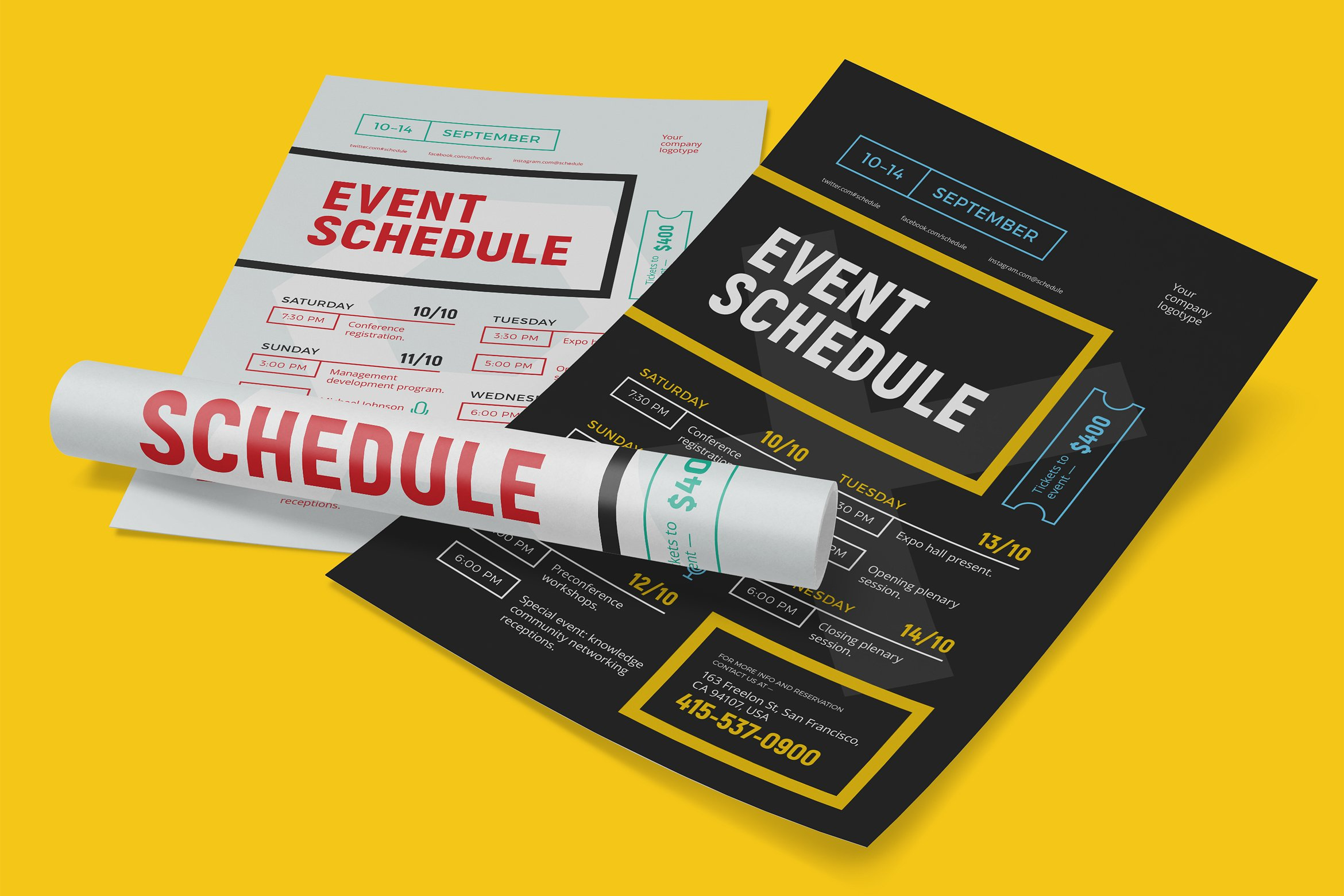 clean event schedule poster example