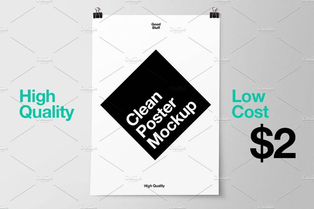 clean hanging poster mockup example