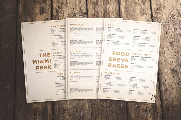 clean and classic food menu example