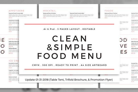 clean and simple food menu example