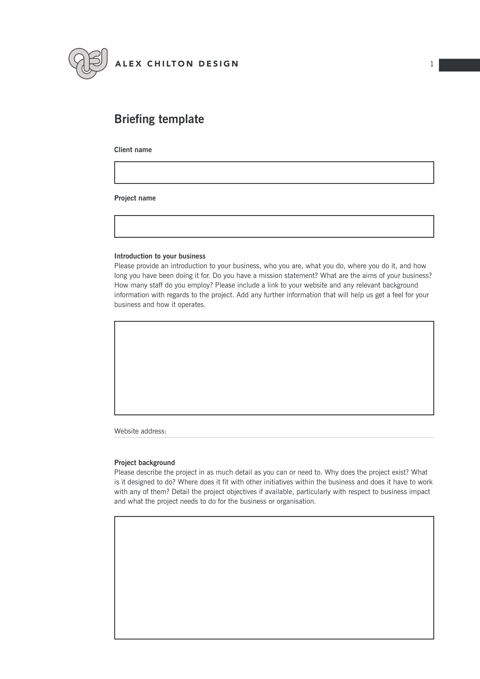 client brief template example