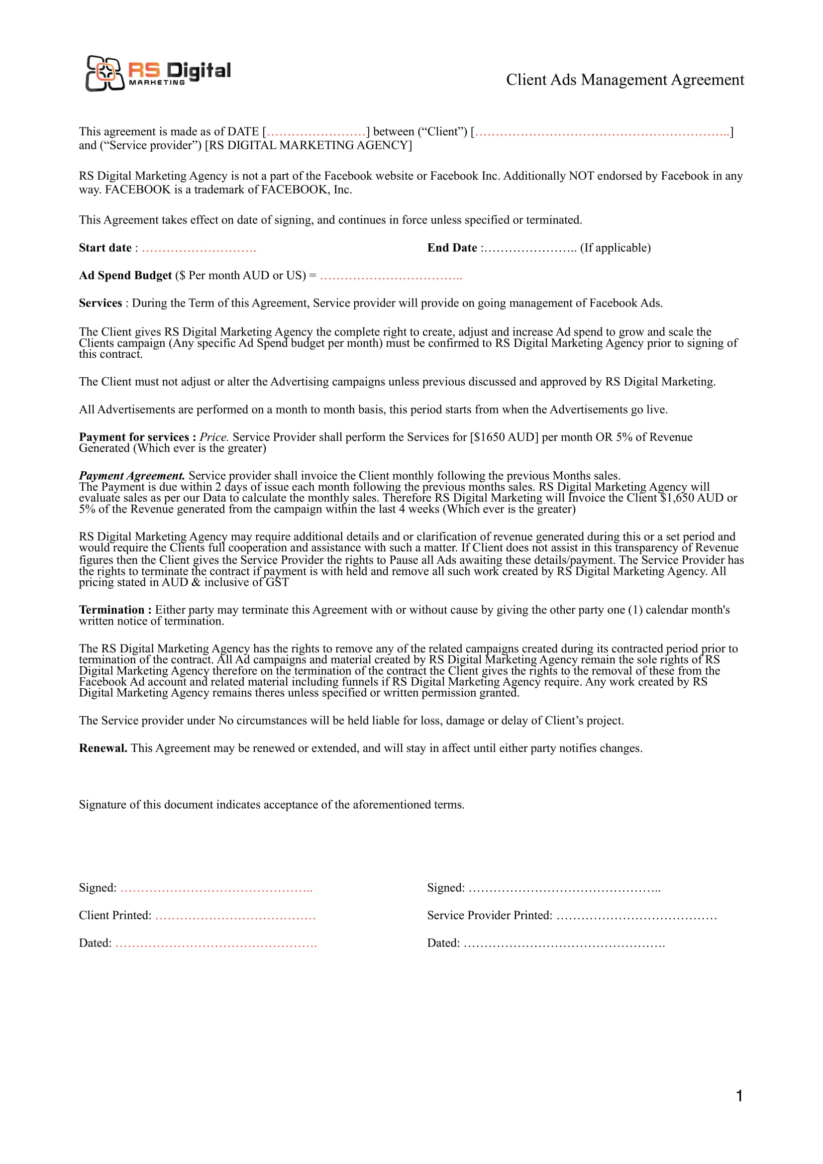 clients ads management digital marketing agreement template example