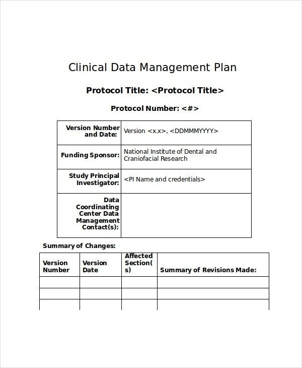 clinical data management plan example