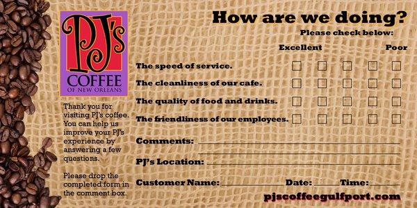 coffee comment card example