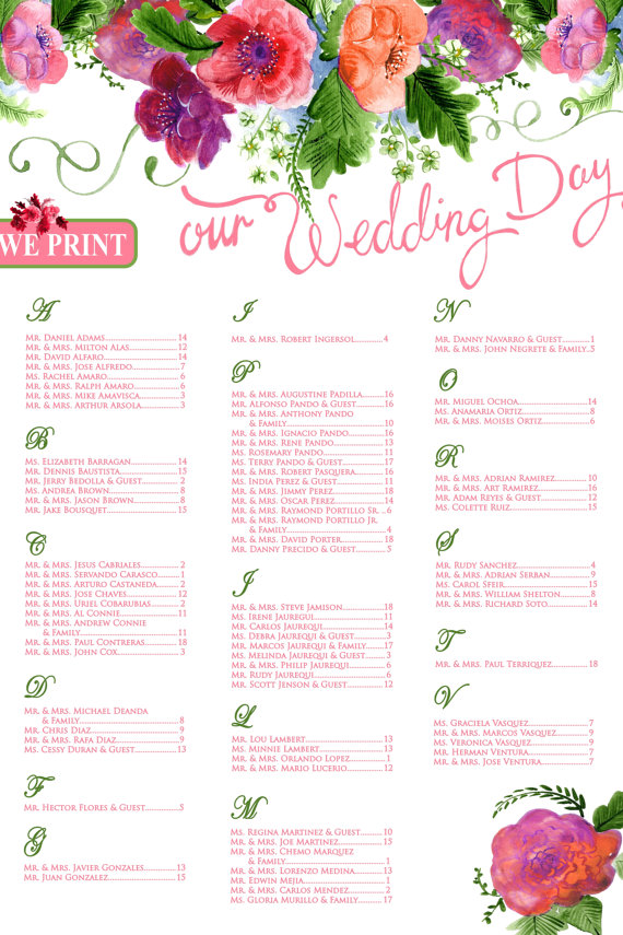 colorful bouquet seating chart example