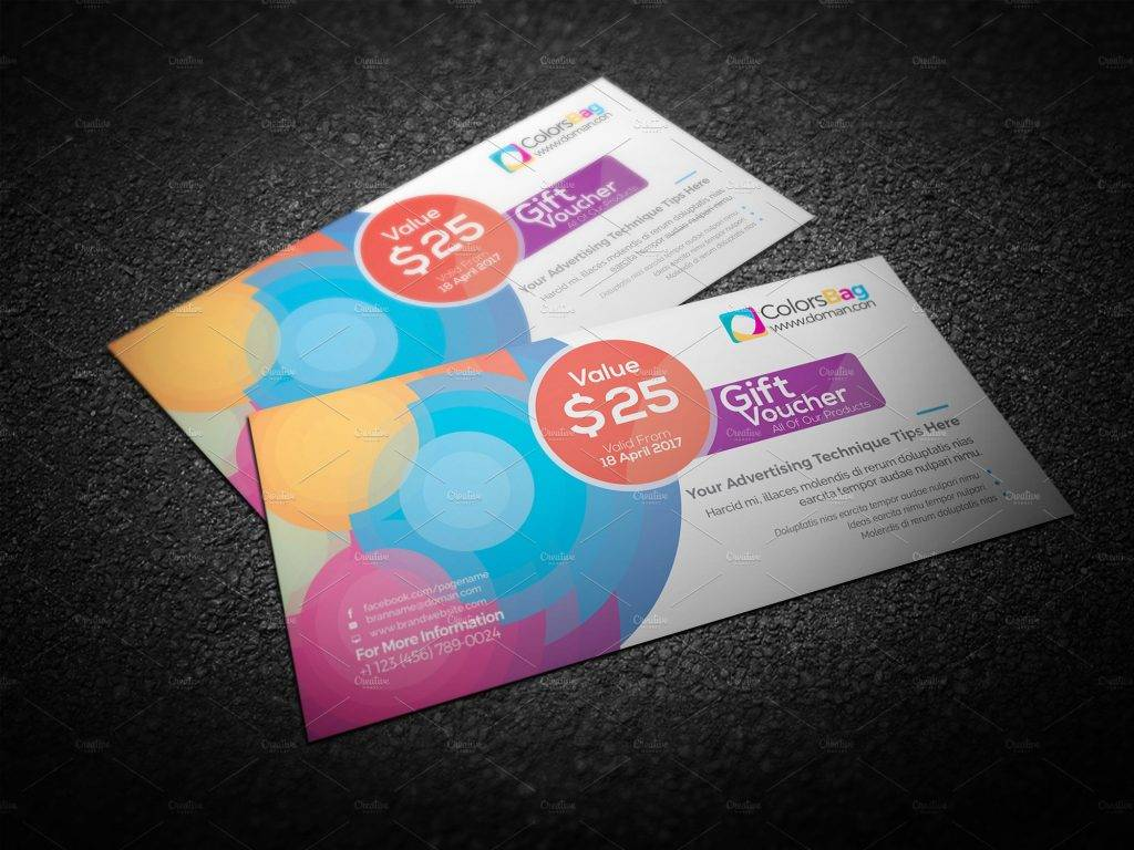 colorful circle gift voucher example