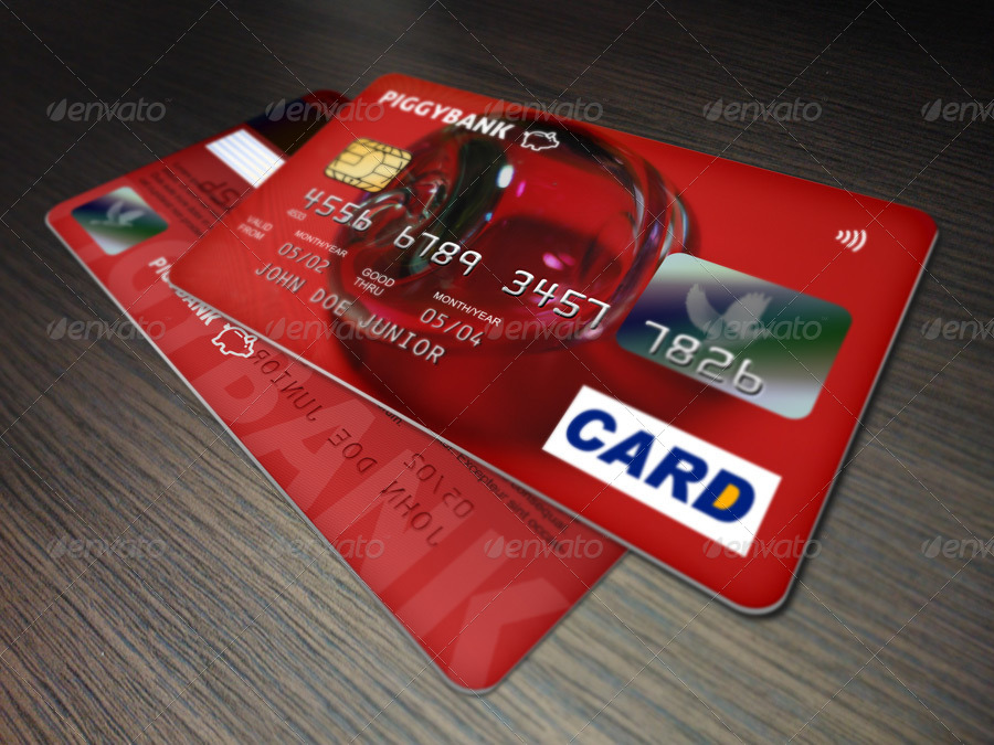 colorful credit cards mock up