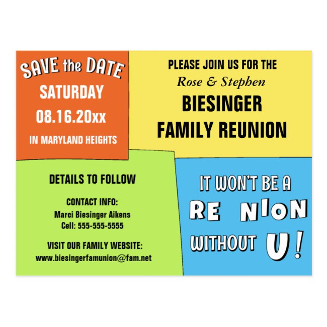 colorful save the date reunion example