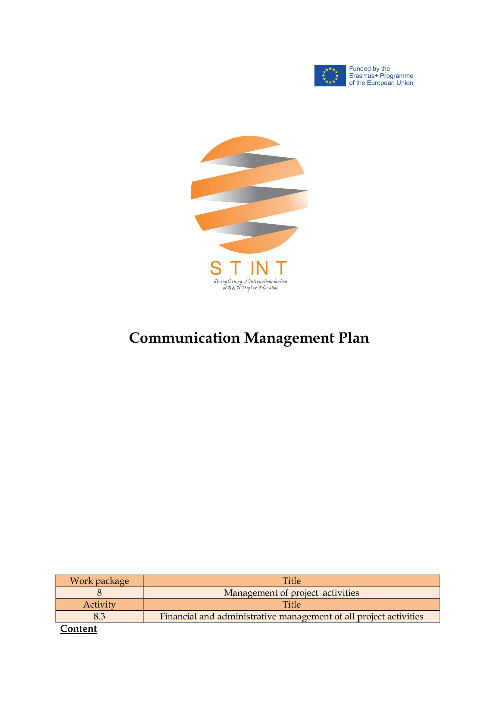 communication management plan example