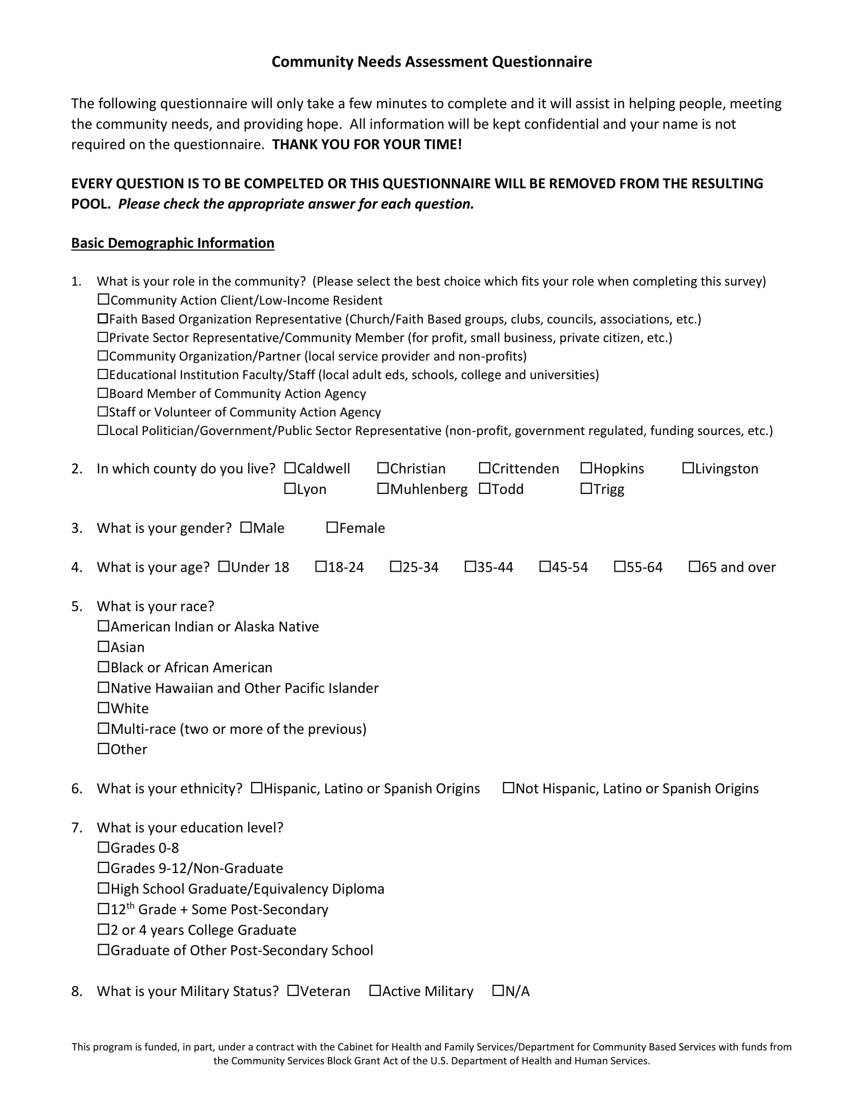 community needs assesment questionnaire example