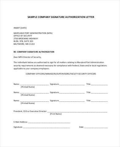 company signature authorization
