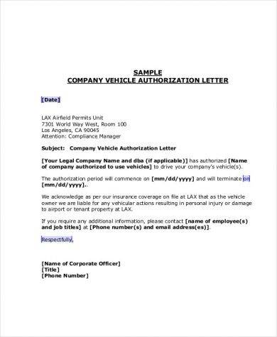vehicle authorization letter company vehicle authorization company vehicle authorizatio