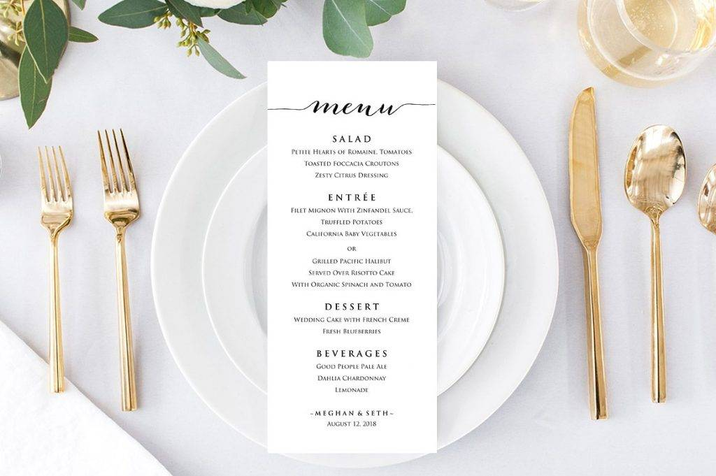 complete wedding reception menu example