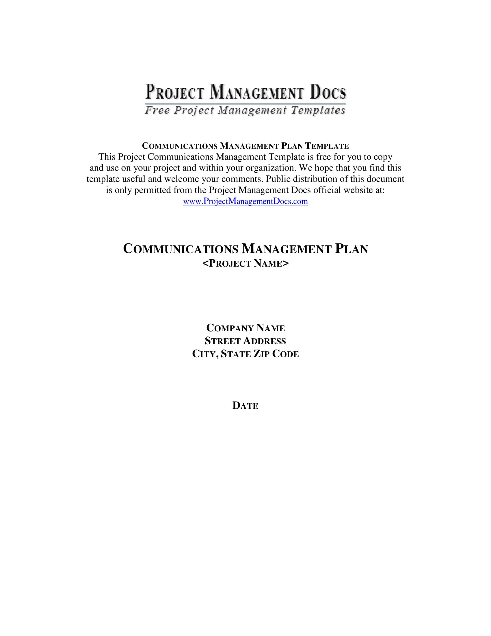 comprehensive communication management plan example