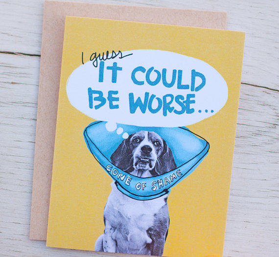 cone of shame geet well greeting card example