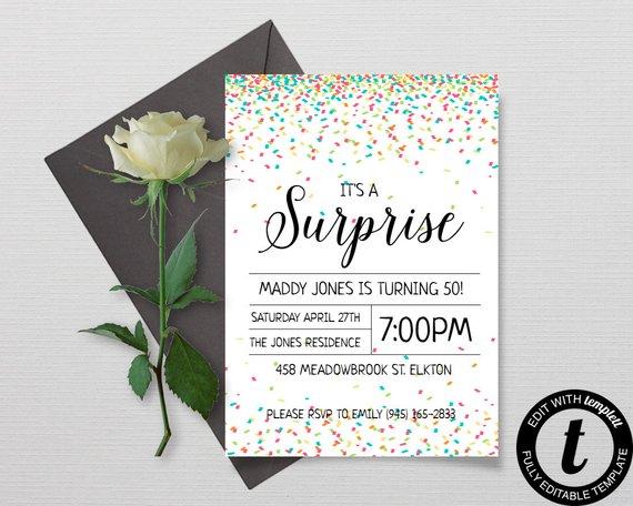 confetti birthday surprise party invitation example