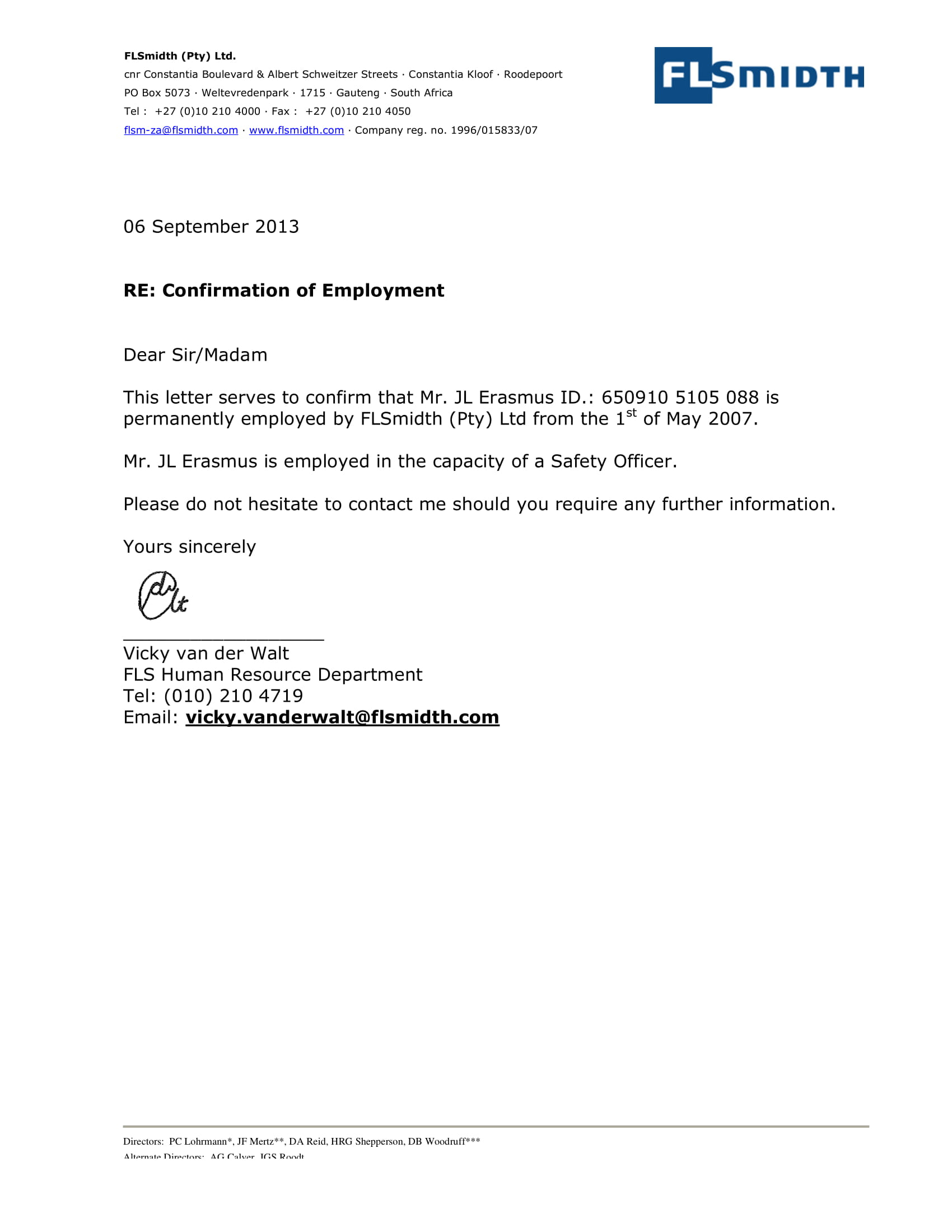 Confirmation Of Employment Letter Example